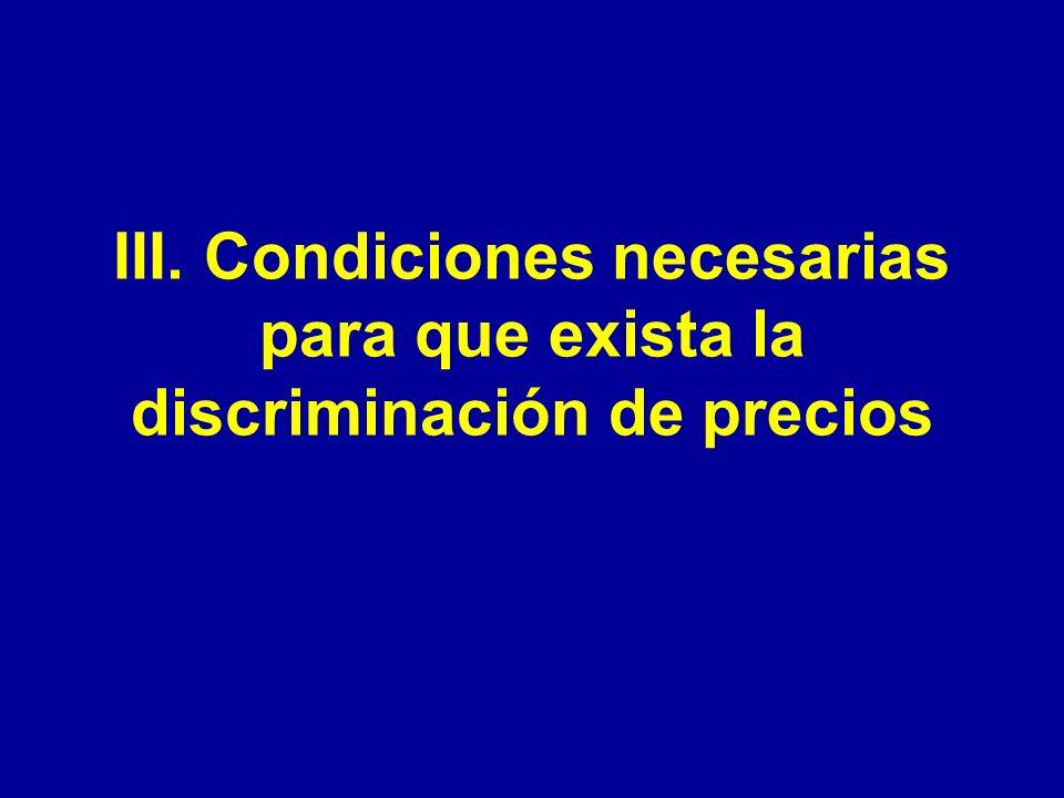 III. Condiciones necesarias para que exista la discriminación de precios