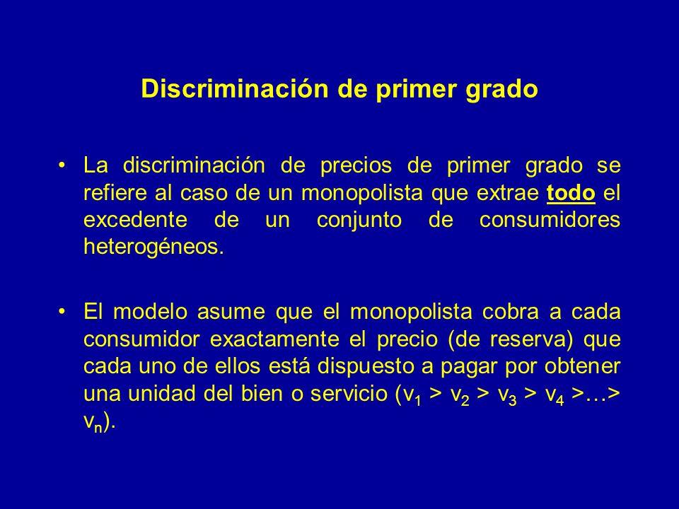 Discriminación de primer grado La discriminación de precios de primer grado se refiere al caso de un monopolista que extrae todo el excedente de un conjunto de consumidores heterogéneos.