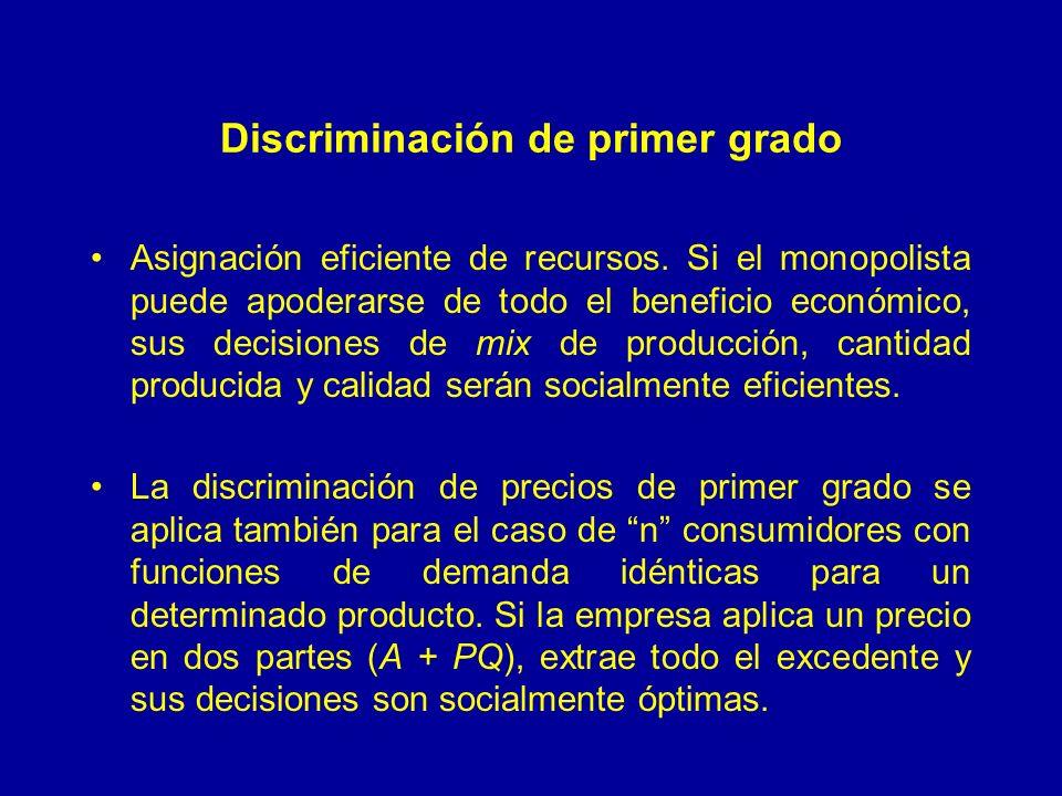 Discriminación de primer grado Asignación eficiente de recursos. Si el monopolista puede apoderarse de todo el beneficio económico, sus decisiones de