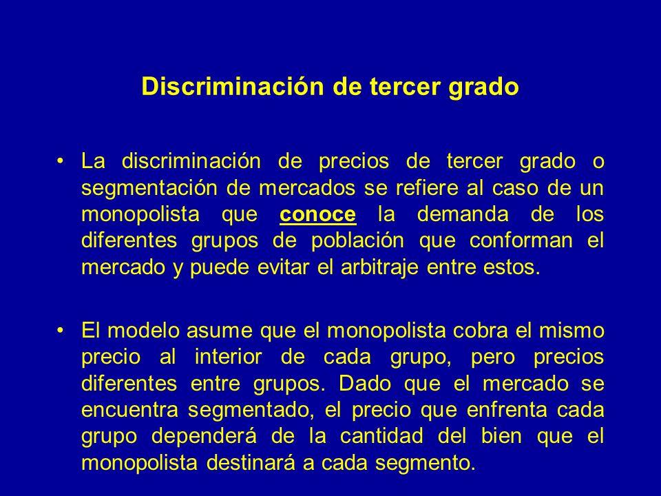 Discriminación de tercer grado La discriminación de precios de tercer grado o segmentación de mercados se refiere al caso de un monopolista que conoce la demanda de los diferentes grupos de población que conforman el mercado y puede evitar el arbitraje entre estos.