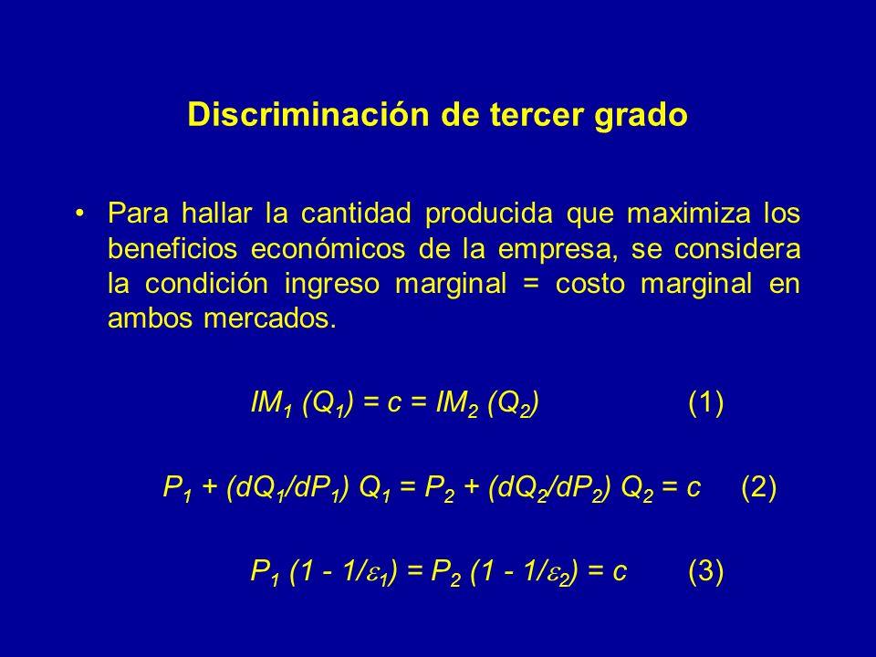 Discriminación de tercer grado Para hallar la cantidad producida que maximiza los beneficios económicos de la empresa, se considera la condición ingreso marginal = costo marginal en ambos mercados.