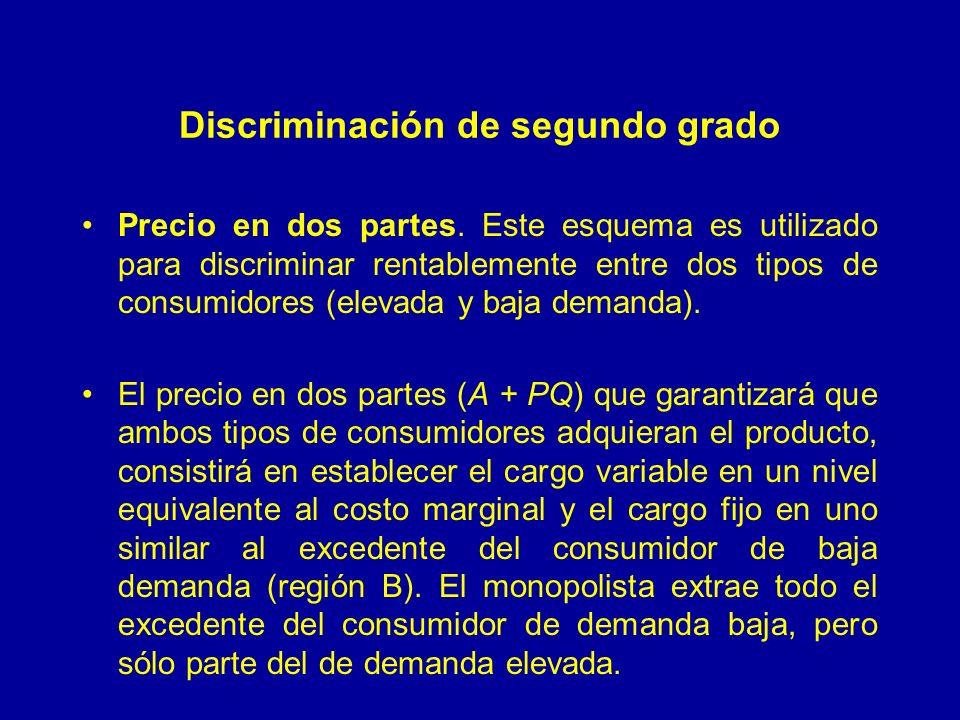 Discriminación de segundo grado Precio en dos partes. Este esquema es utilizado para discriminar rentablemente entre dos tipos de consumidores (elevad