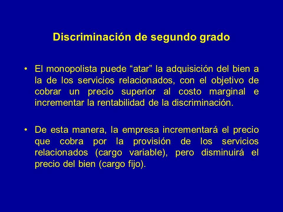 Discriminación de segundo grado El monopolista puede atar la adquisición del bien a la de los servicios relacionados, con el objetivo de cobrar un precio superior al costo marginal e incrementar la rentabilidad de la discriminación.