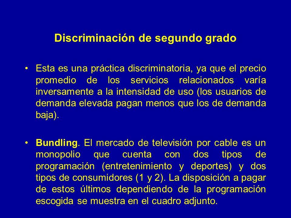 Discriminación de segundo grado Esta es una práctica discriminatoria, ya que el precio promedio de los servicios relacionados varía inversamente a la intensidad de uso (los usuarios de demanda elevada pagan menos que los de demanda baja).