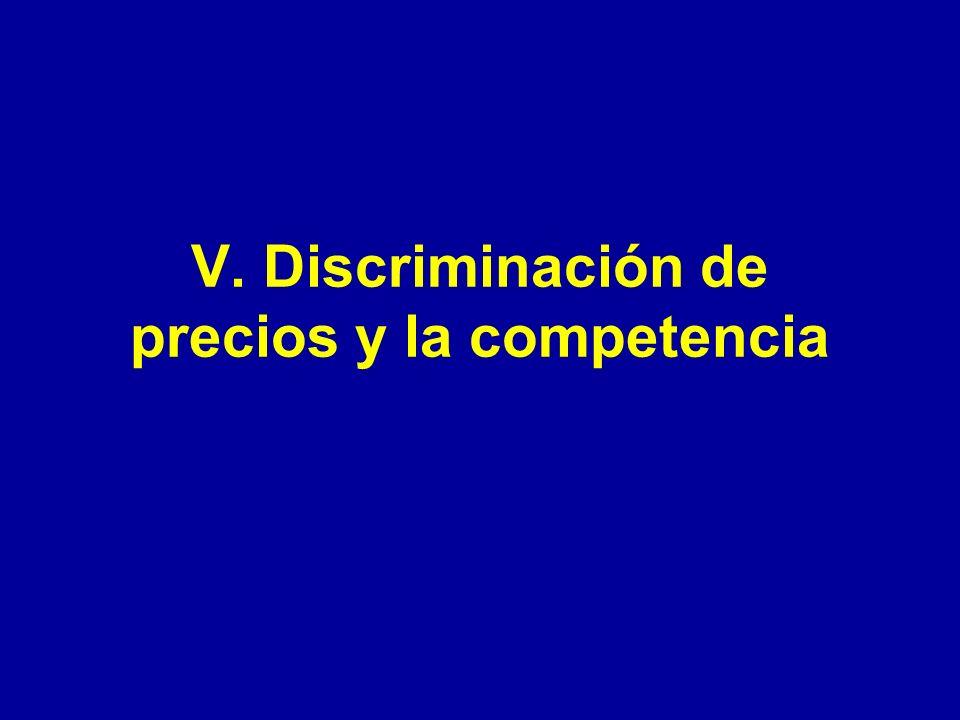 V. Discriminación de precios y la competencia