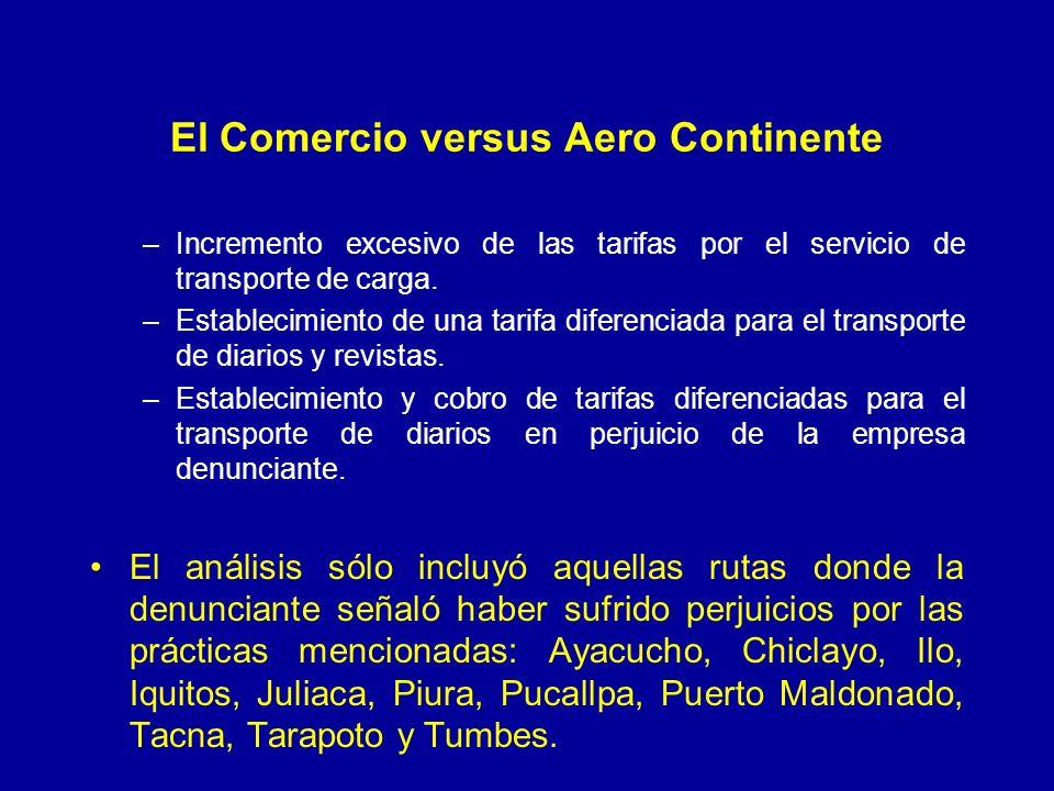 El Comercio versus Aero Continente –Incremento excesivo de las tarifas por el servicio de transporte de carga. –Establecimiento de una tarifa diferenc