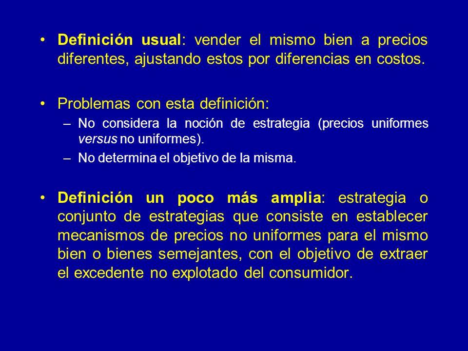 Definición usual: vender el mismo bien a precios diferentes, ajustando estos por diferencias en costos. Problemas con esta definición: –No considera l