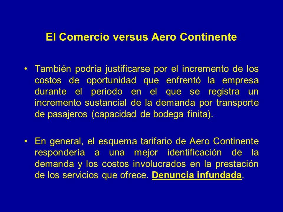 El Comercio versus Aero Continente También podría justificarse por el incremento de los costos de oportunidad que enfrentó la empresa durante el periodo en el que se registra un incremento sustancial de la demanda por transporte de pasajeros (capacidad de bodega finita).