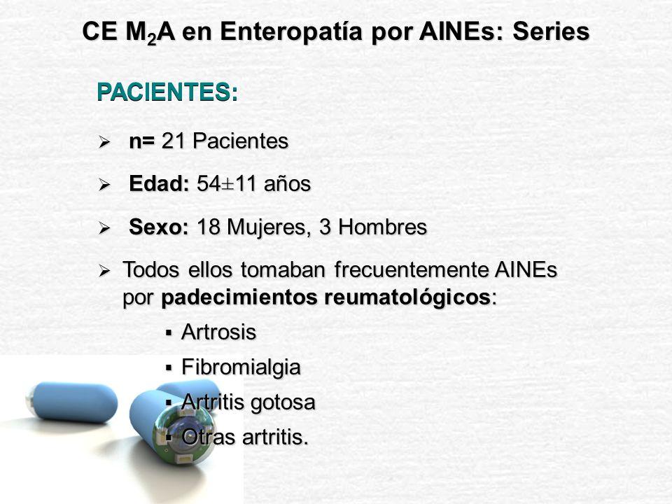 21 Pts con consumo habitual de AINEs PERIODO DE ACLARAMIENTO: 7 Días sin toma de AINEs (sólo paracetamol ad libitum) PERIODO DE ESTUDIO PERIODO DE ESTUDIO Administración de AINEs durante 14 días a dosis convencionales: Dexibuprofeno 400 mg/12h (n=7 pts) Ibuprofeno 800 mg/12h (n=7 pts) Diclofenaco 50 mg/12h (n=7 pts) CE M 2 A en Enteropatía por AINEs: Series