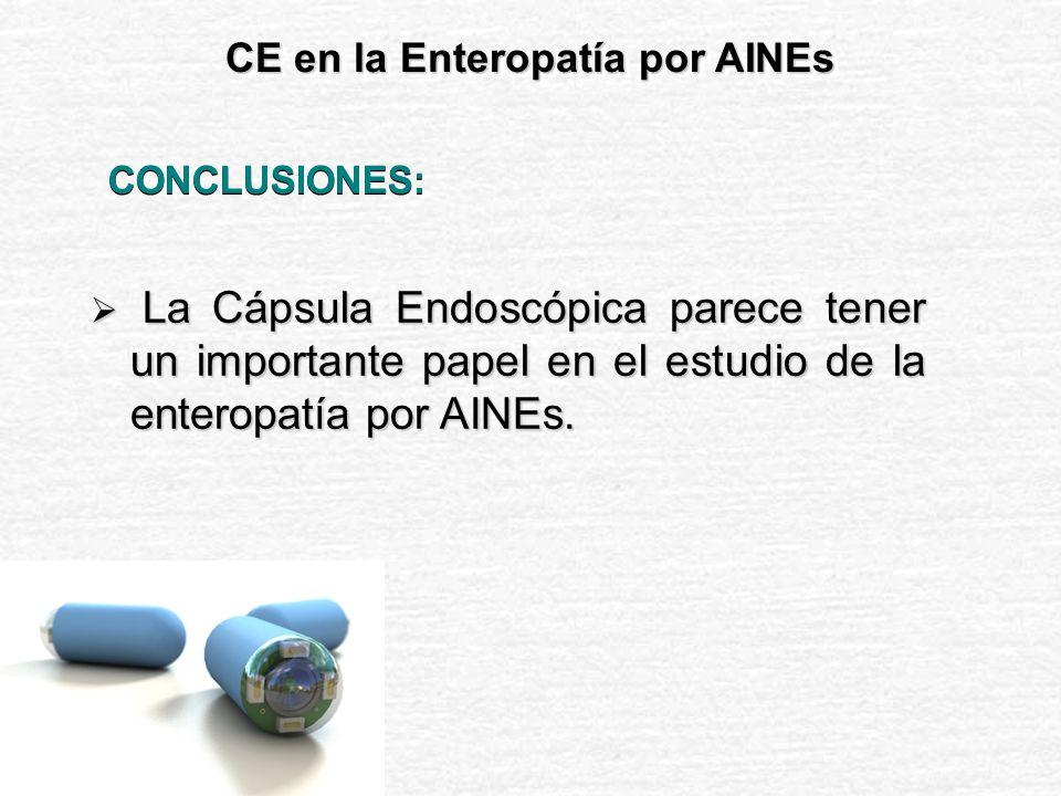 CE M 2 A en la Enteropatía por AINES Diagnóstico inicial Diagnóstico inicial Estudio de extensión Estudio de extensión Herramienta para el estudio de la enterolesividad de nuevos fármacos.