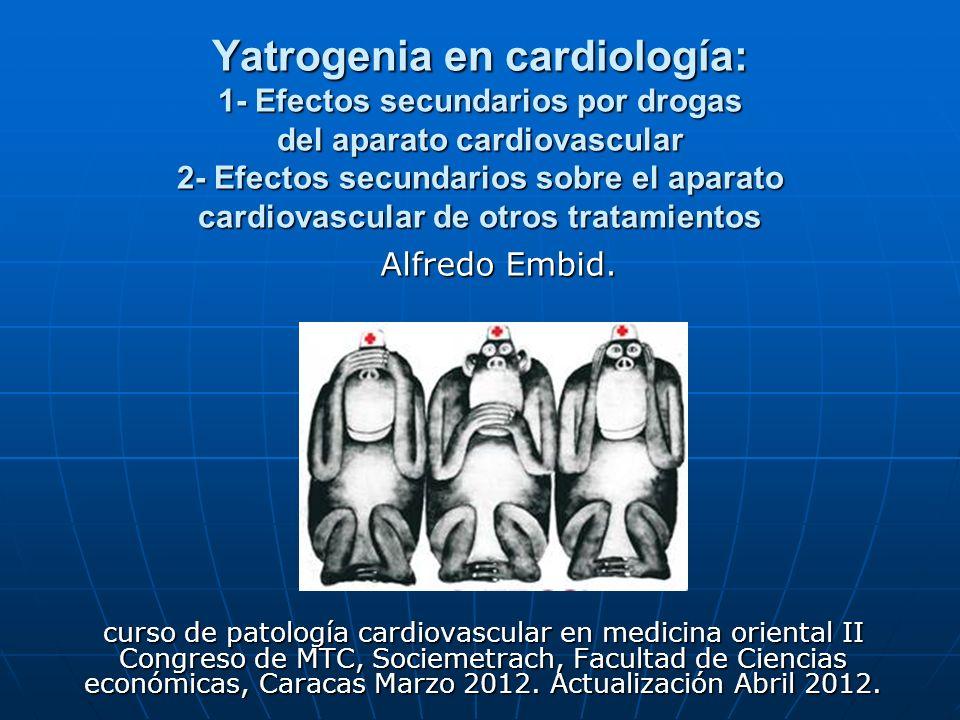 Yatrogenia en cardiología: 1- Efectos secundarios por drogas del aparato cardiovascular 2- Efectos secundarios sobre el aparato cardiovascular de otro