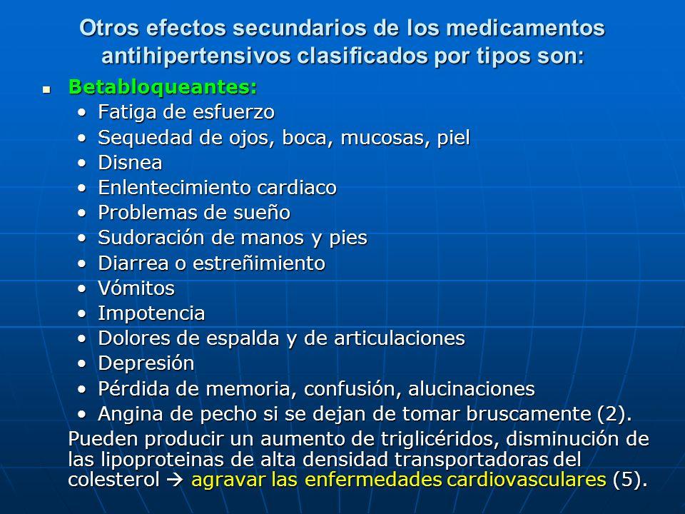 Otros efectos secundarios de los medicamentos antihipertensivos clasificados por tipos son: Betabloqueantes: Betabloqueantes: Fatiga de esfuerzoFatiga