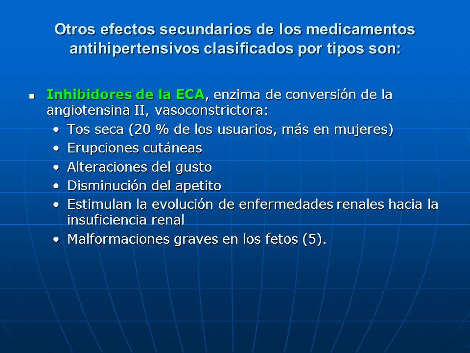 Otros efectos secundarios de los medicamentos antihipertensivos clasificados por tipos son: Inhibidores de la ECA, enzima de conversión de la angioten