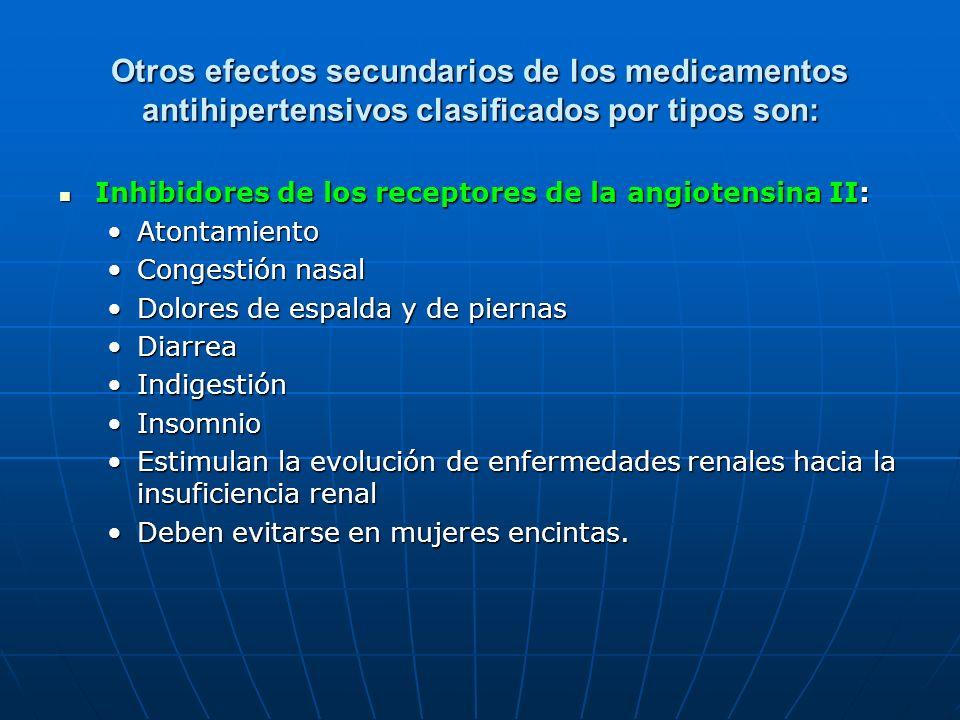 Otros efectos secundarios de los medicamentos antihipertensivos clasificados por tipos son: Inhibidores de los receptores de la angiotensina II: Inhib