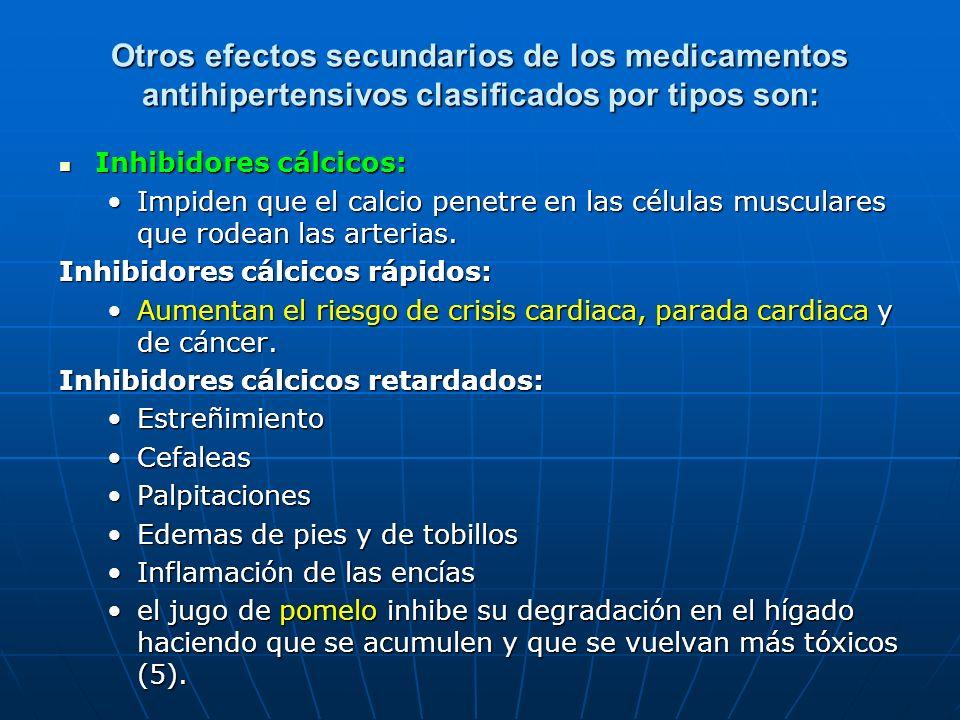 Otros efectos secundarios de los medicamentos antihipertensivos clasificados por tipos son: Inhibidores cálcicos: Inhibidores cálcicos: Impiden que el