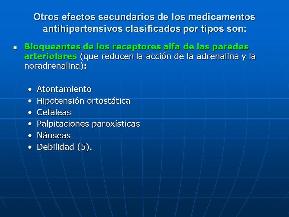 Otros efectos secundarios de los medicamentos antihipertensivos clasificados por tipos son: Bloqueantes de los receptores alfa de las paredes arteriol