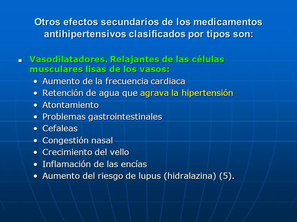 Otros efectos secundarios de los medicamentos antihipertensivos clasificados por tipos son: Vasodilatadores. Relajantes de las células musculares lisa