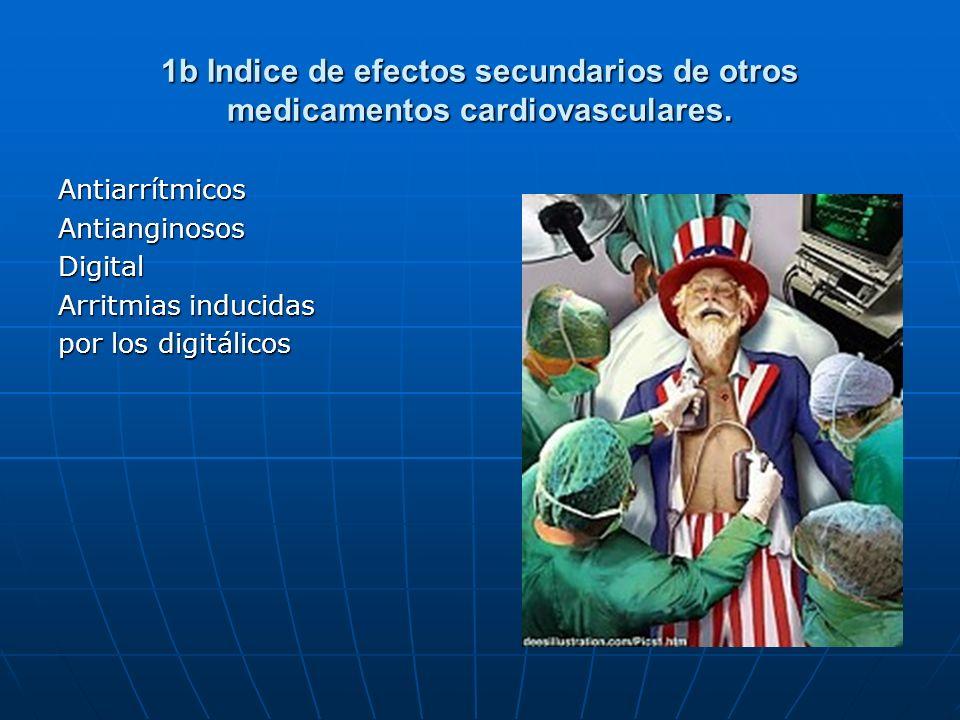 1b Indice de efectos secundarios de otros medicamentos cardiovasculares. AntiarrítmicosAntianginososDigital Arritmias inducidas por los digitálicos