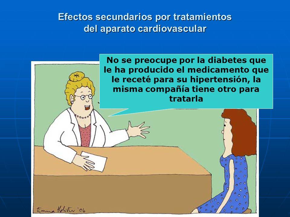 Efectos secundarios por tratamientos del aparato cardiovascular No se preocupe por la diabetes que le ha producido el medicamento que le receté para s