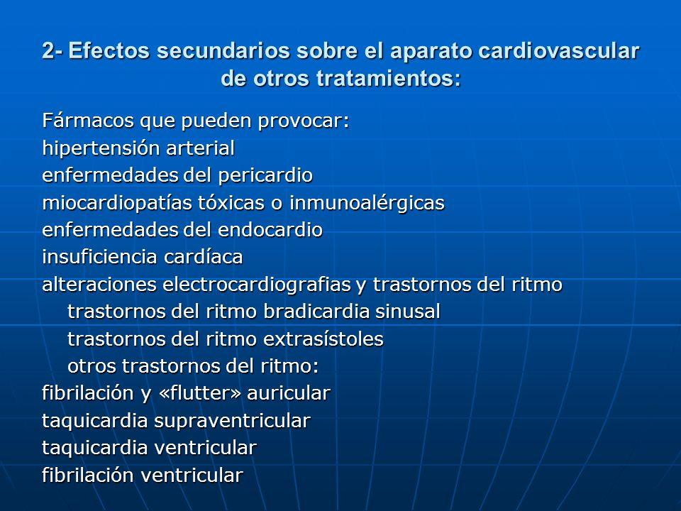 2- Efectos secundarios sobre el aparato cardiovascular de otros tratamientos: Fármacos que pueden provocar: hipertensión arterial enfermedades del per