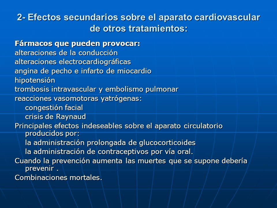 2- Efectos secundarios sobre el aparato cardiovascular de otros tratamientos: Fármacos que pueden provocar: alteraciones de la conducción alteraciones