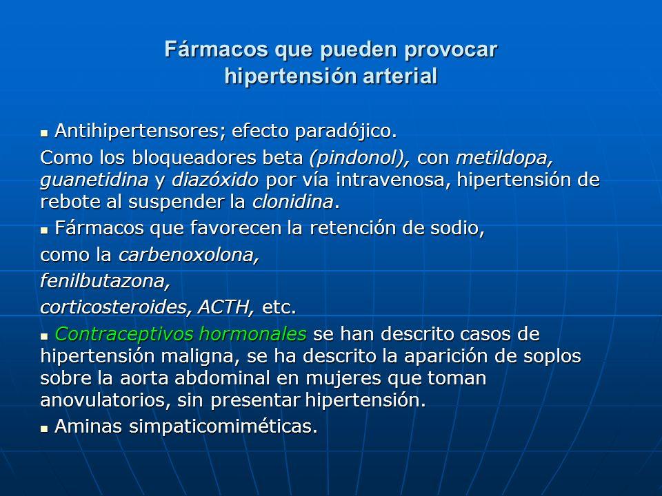 Fármacos que pueden provocar hipertensión arterial Antihipertensores; efecto paradójico. Antihipertensores; efecto paradójico. Como los bloqueadores b