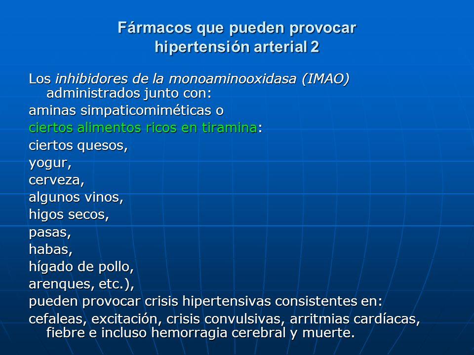 Fármacos que pueden provocar hipertensión arterial 2 Los inhibidores de la monoaminooxidasa (IMAO) administrados junto con: aminas simpaticomiméticas