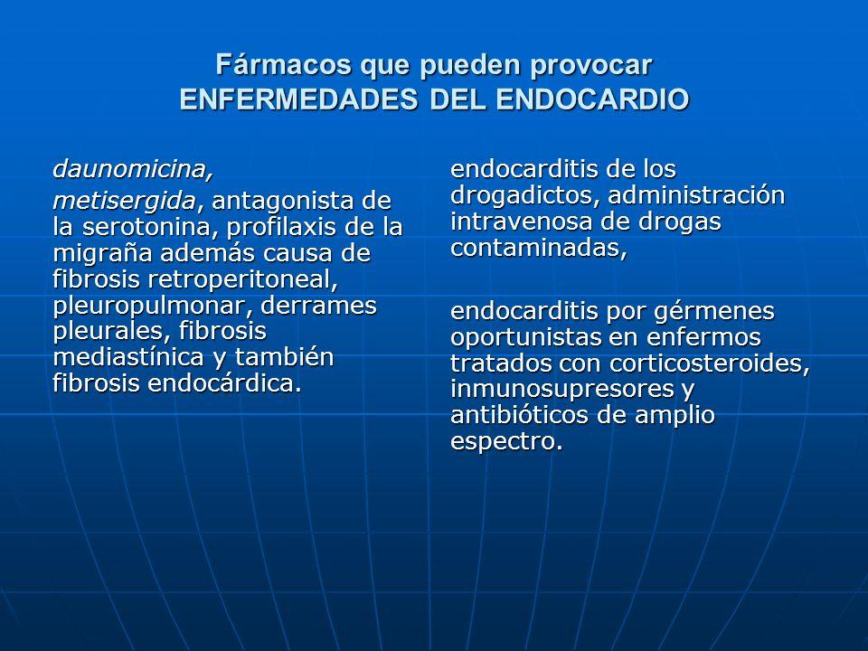Fármacos que pueden provocar ENFERMEDADES DEL ENDOCARDIO daunomicina, metisergida, antagonista de la serotonina, profilaxis de la migraña además causa