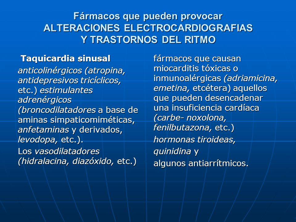 Fármacos que pueden provocar ALTERACIONES ELECTROCARDIOGRAFIAS Y TRASTORNOS DEL RITMO Taquicardia sinusal Taquicardia sinusal anticolinérgicos (atropi