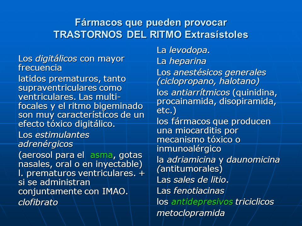 Fármacos que pueden provocar TRASTORNOS DEL RITMO Extrasístoles Los digitálicos con mayor frecuencia latidos prematuros, tanto supraventriculares como