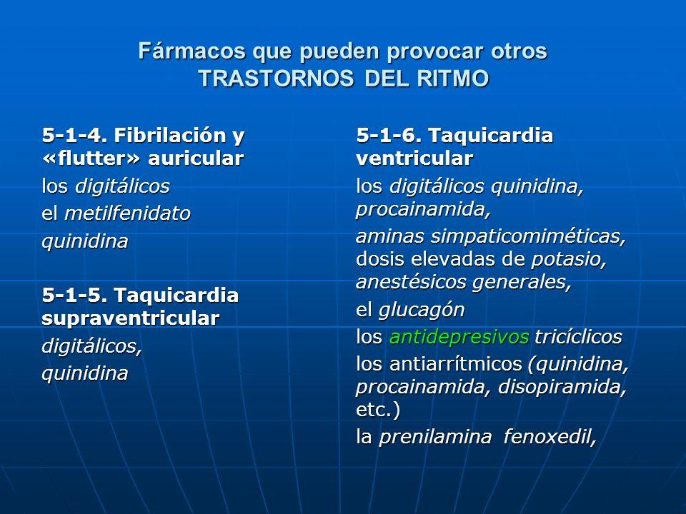 Fármacos que pueden provocar otros TRASTORNOS DEL RITMO 5-1-4. Fibrilación y «flutter» auricular los digitálicos el metilfenidato quinidina 5-1-5. Taq