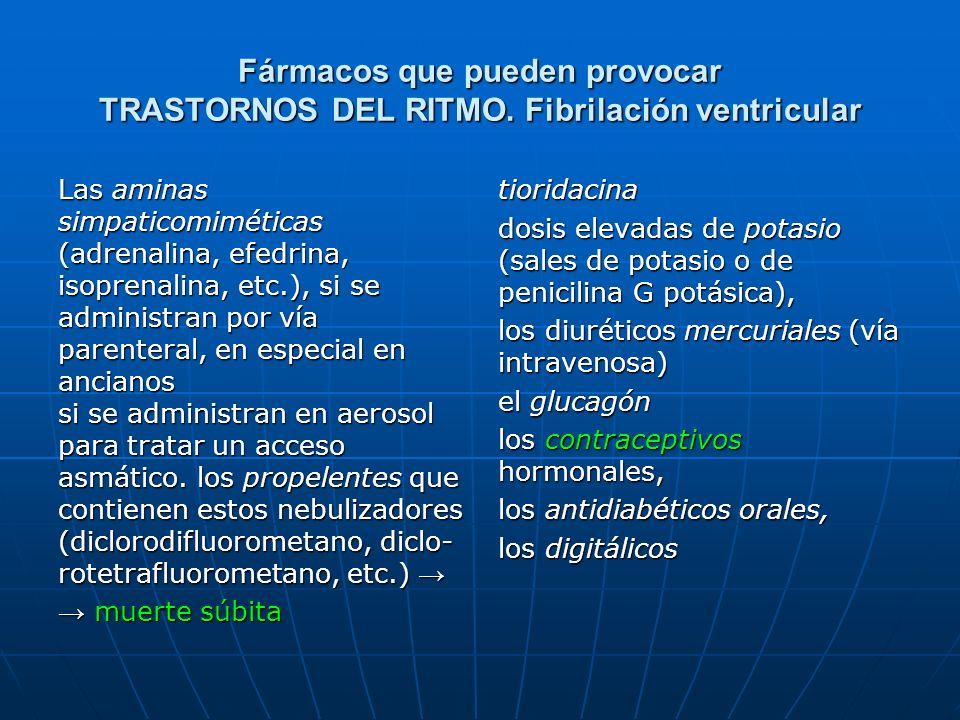 Fármacos que pueden provocar TRASTORNOS DEL RITMO. Fibrilación ventricular Las aminas simpaticomiméticas (adrenalina, efedrina, isoprenalina, etc.), s