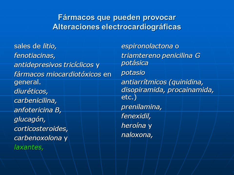 Fármacos que pueden provocar Alteraciones electrocardiográficas sales de litio, fenotiacinas, antidepresivos tricíclicos y fármacos miocardiotóxicos e