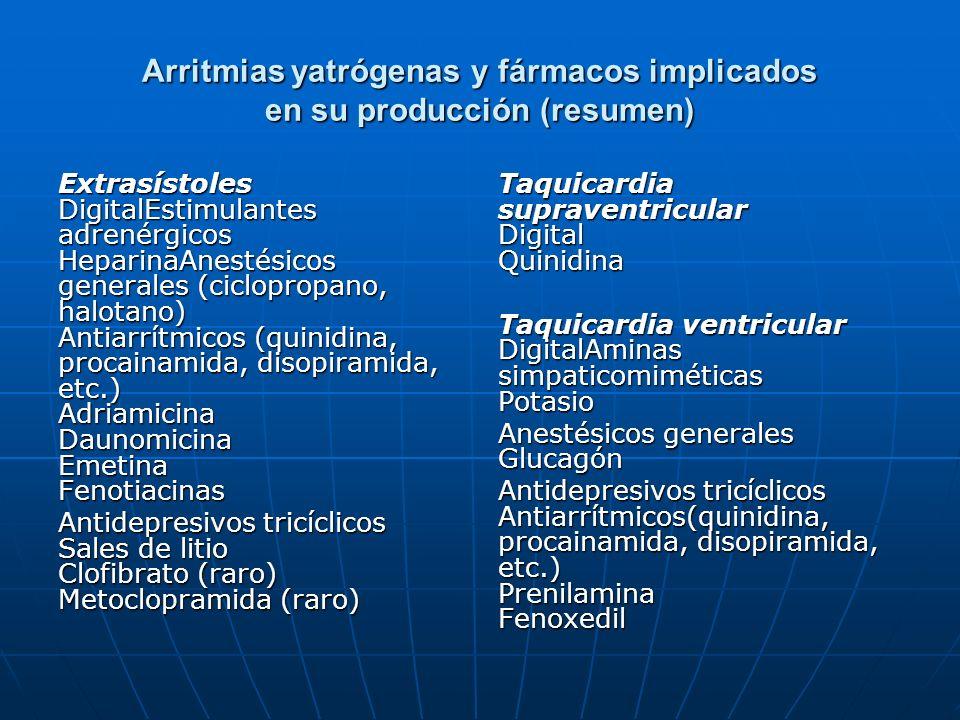 Arritmias yatrógenas y fármacos implicados en su producción (resumen) Extrasístoles DigitalEstimulantes adrenérgicos HeparinaAnestésicos generales (ci