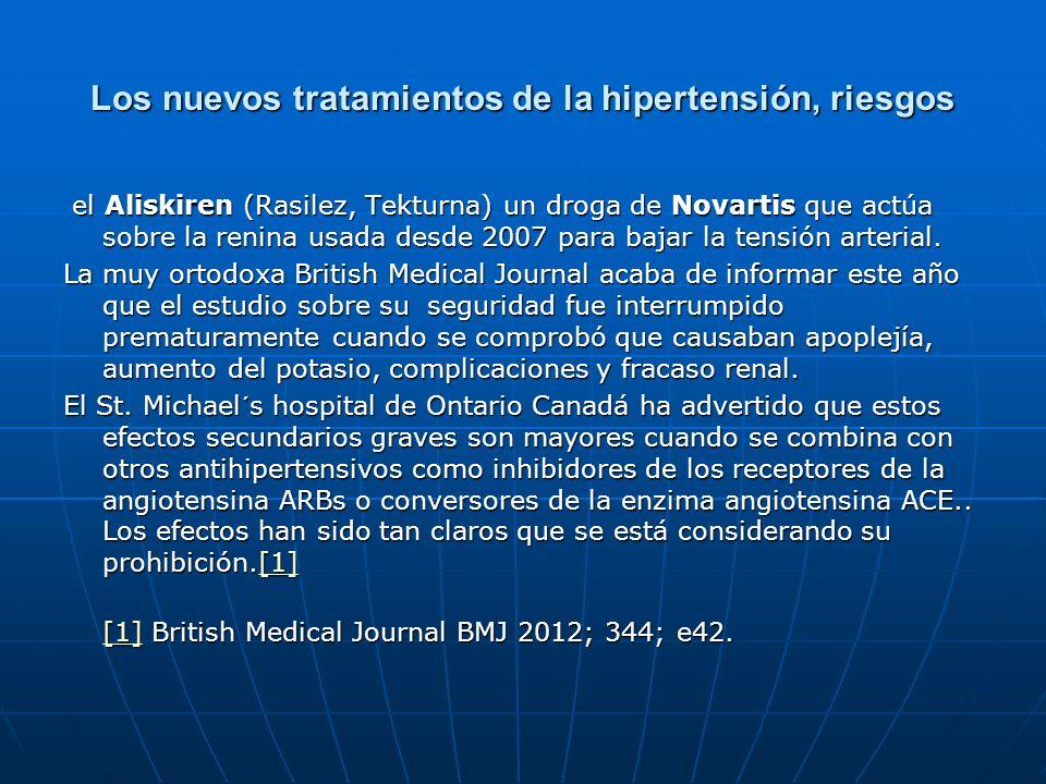 Los nuevos tratamientos de la hipertensión, riesgos el Aliskiren (Rasilez, Tekturna) un droga de Novartis que actúa sobre la renina usada desde 2007 p