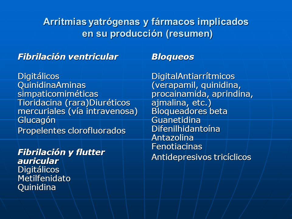 Arritmias yatrógenas y fármacos implicados en su producción (resumen) Fibrilación ventricular Digitálicos QuinidinaAminas simpaticomiméticas Tioridaci