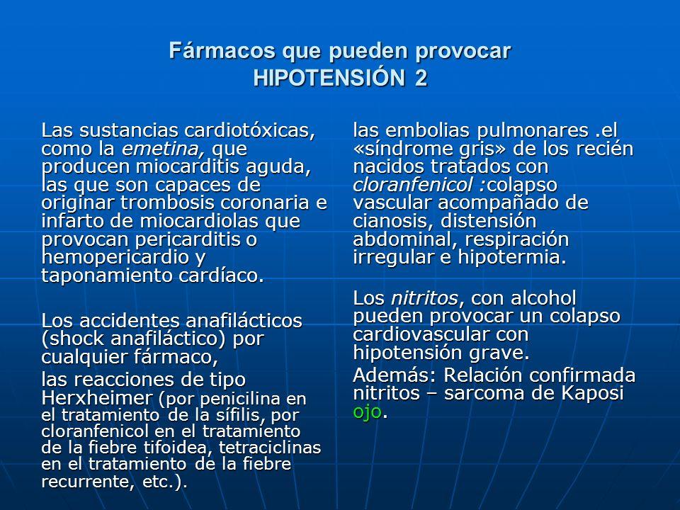 Fármacos que pueden provocar HIPOTENSIÓN 2 Las sustancias cardiotóxicas, como la emetina, que producen miocarditis aguda, las que son capaces de origi