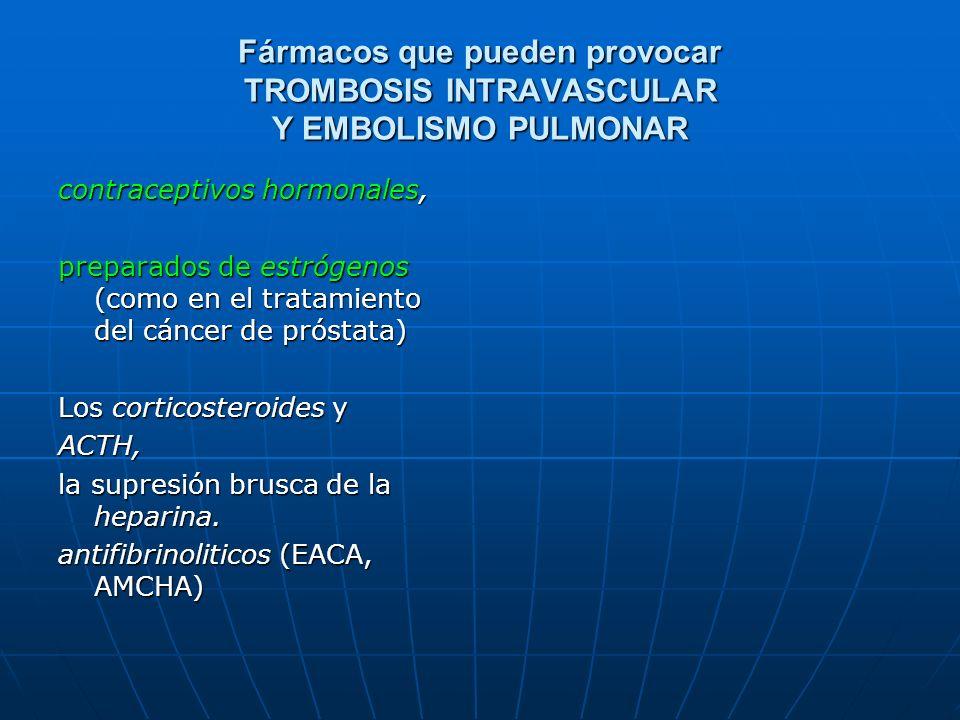 Fármacos que pueden provocar TROMBOSIS INTRAVASCULAR Y EMBOLISMO PULMONAR contraceptivos hormonales, preparados de estrógenos (como en el tratamiento