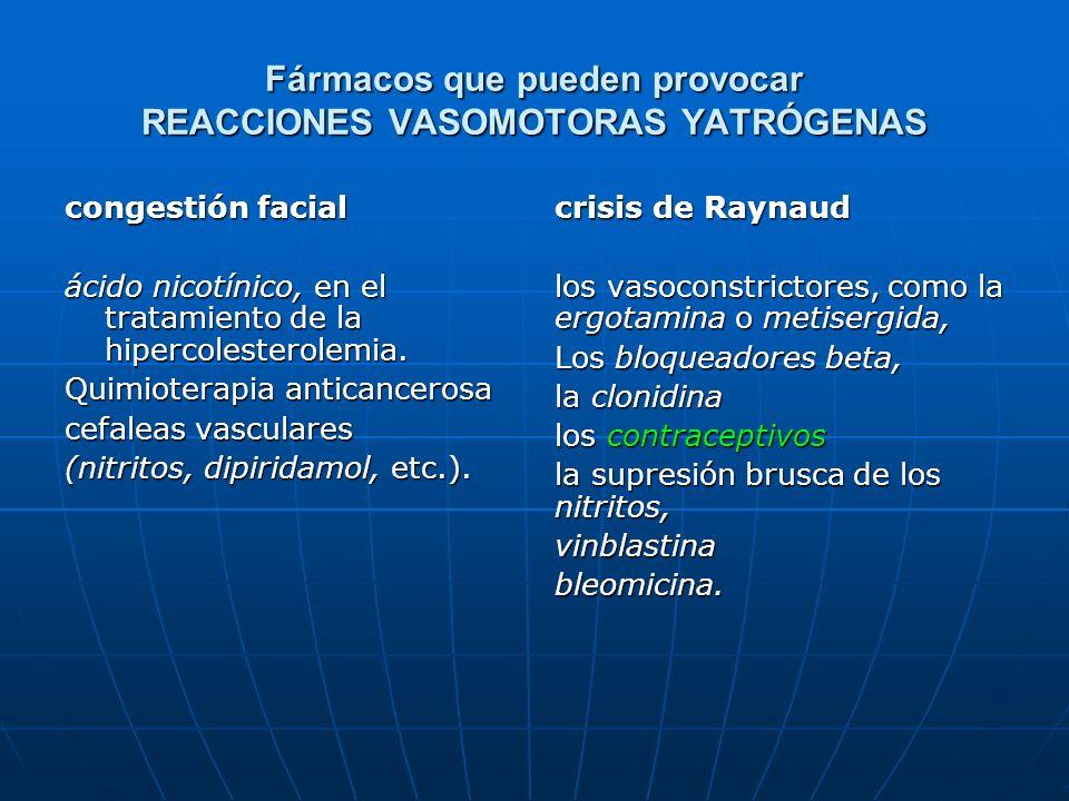 Fármacos que pueden provocar REACCIONES VASOMOTORAS YATRÓGENAS congestión facial ácido nicotínico, en el tratamiento de la hipercolesterolemia. Quimio