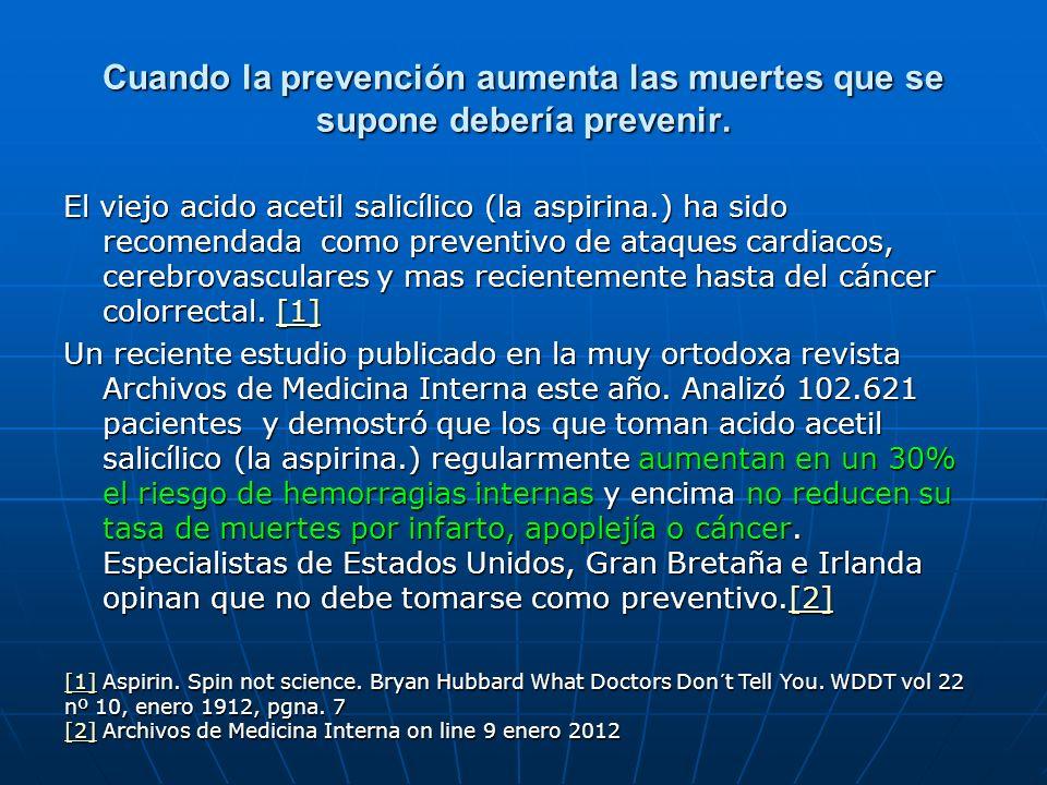 Cuando la prevención aumenta las muertes que se supone debería prevenir. El viejo acido acetil salicílico (la aspirina.) ha sido recomendada como prev