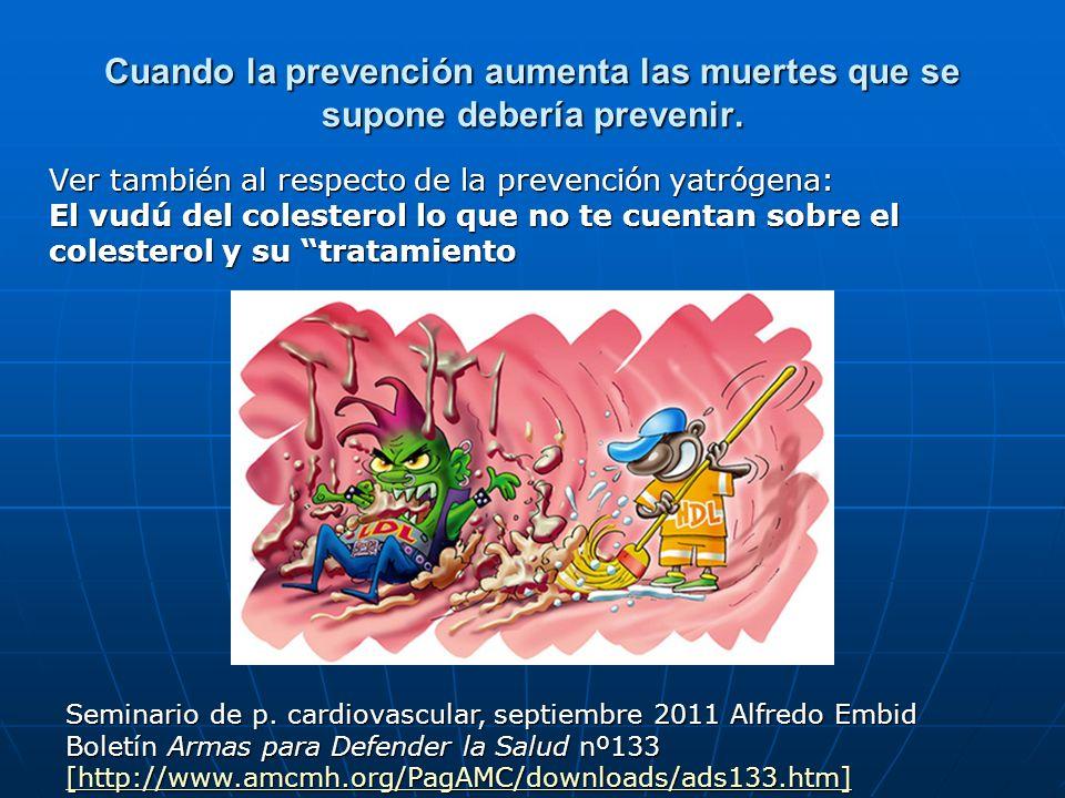 Cuando la prevención aumenta las muertes que se supone debería prevenir. Ver también al respecto de la prevención yatrógena: El vudú del colesterol lo