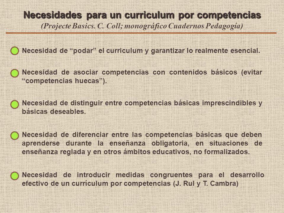 Necesidades para un curriculum por competencias (Projecte Basics. C. Coll; monográfico Cuadernos Pedagogía) Necesidad de diferenciar entre las compete