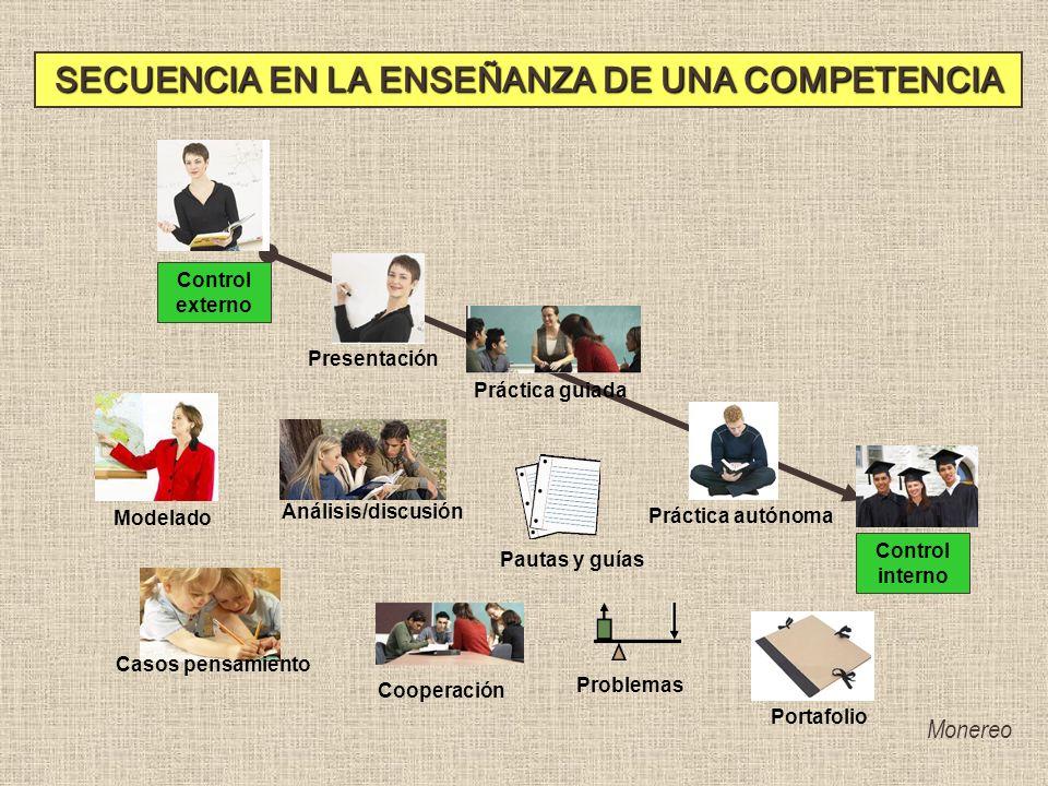 Problemas Cooperación Presentación Práctica guiada Análisis/discusión Modelado Práctica autónoma Casos pensamiento PortafolioPautas y guías Control ex