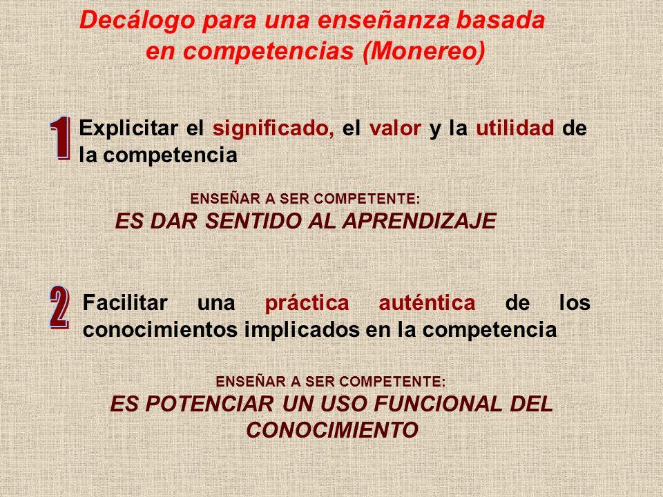Decálogo para una enseñanza basada en competencias (Monereo) ENSEÑAR A SER COMPETENTE: ES DAR SENTIDO AL APRENDIZAJE Explicitar el significado, el val