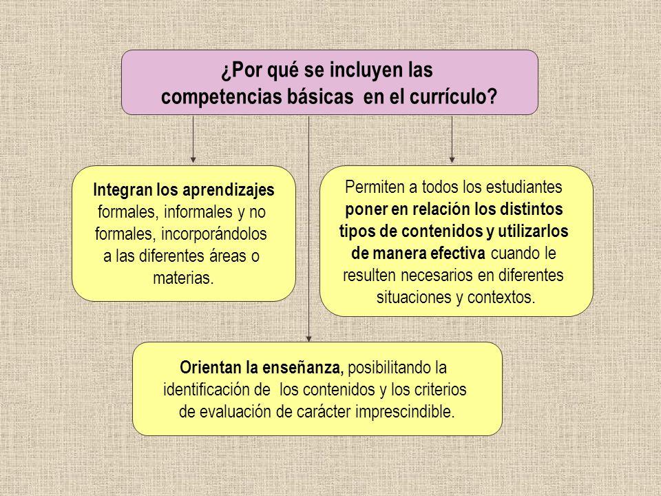 ¿Por qué se incluyen las competencias básicas en el currículo? Integran los aprendizajes formales, informales y no formales, incorporándolos a las dif