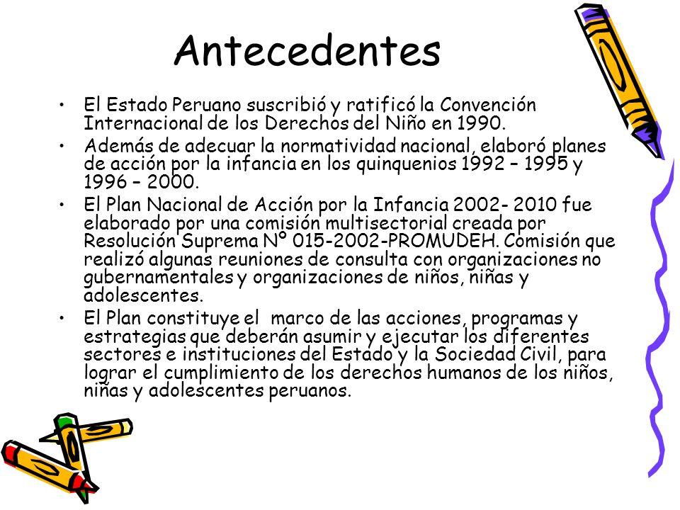 Antecedentes El Estado Peruano suscribió y ratificó la Convención Internacional de los Derechos del Niño en 1990. Además de adecuar la normatividad na