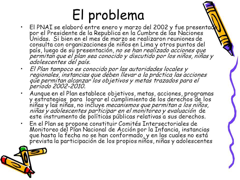 El problema El PNAI se elaboró entre enero y marzo del 2002 y fue presentado por el Presidente de la Republica en la Cumbre de las Naciones Unidas. Si