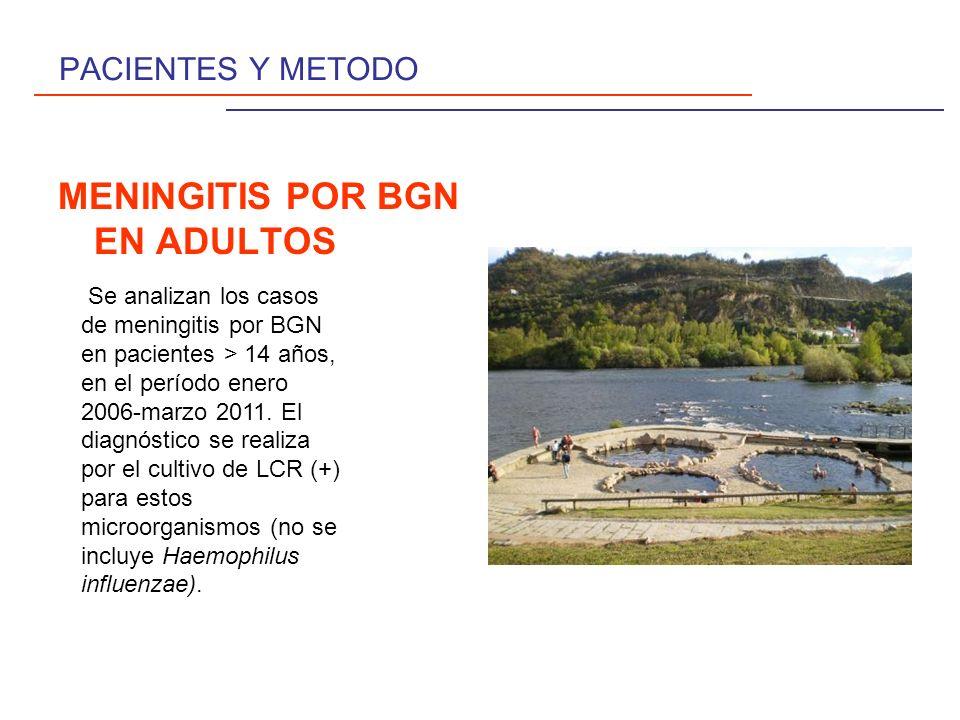 MENINGITIS POR BGN EN ADULTOS Se diagnostican 10 casos de meningitis por BGN ( 5 % del total de aislamientos bacterianos en LCR ), 6 H y 4 V, con edad media de 58,3 años (31-78).