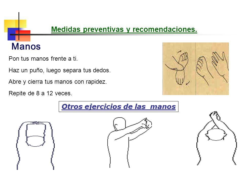 Apoye las puntas de los dedos en una barra. Presione de forma que los dedos se doblen hacia atrás y relájelos. Repita 10 veces. Ejercicio para aumenta
