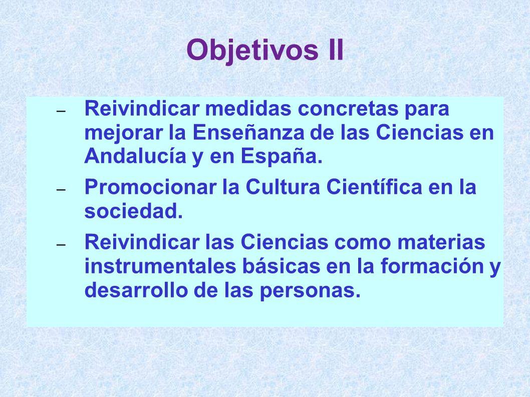 – Reivindicar medidas concretas para mejorar la Enseñanza de las Ciencias en Andalucía y en España. – Promocionar la Cultura Científica en la sociedad